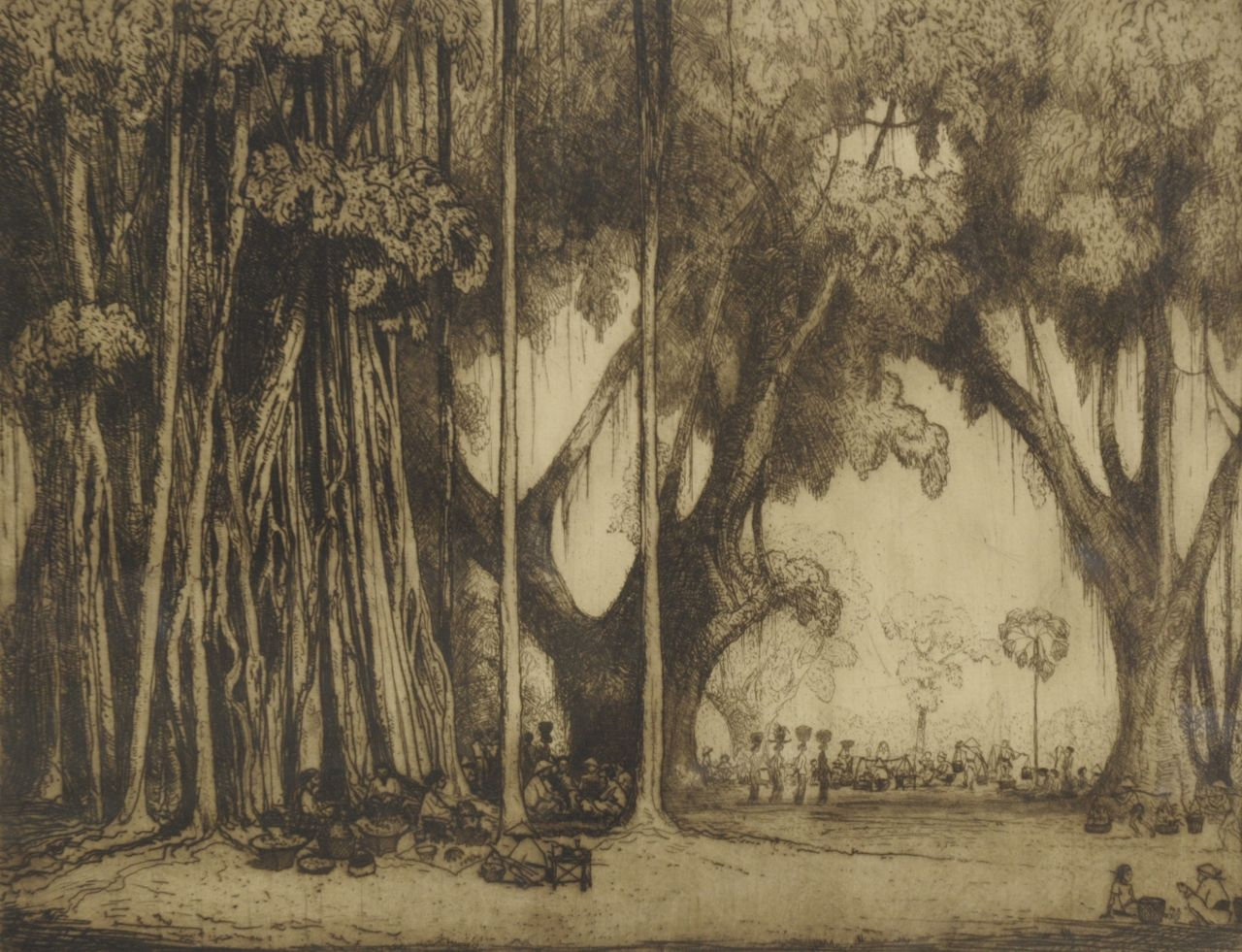 Poortenaar J.C.  | 'Jan' Christiaan Poortenaar, Indonesian landscape with a market, etching on paper 53.1 x 66.1 cm, signed l.r. (in pencil)