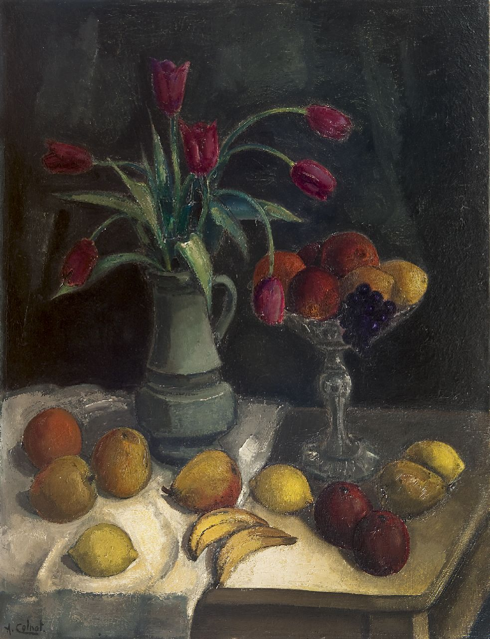 Colnot A.J.G.  | 'Arnout' Jacobus Gustaaf Colnot | Paintings offered for sale | A still life with fruit and tulips on a table, oil on canvas 92.2 x 70.4 cm, signed l.l.