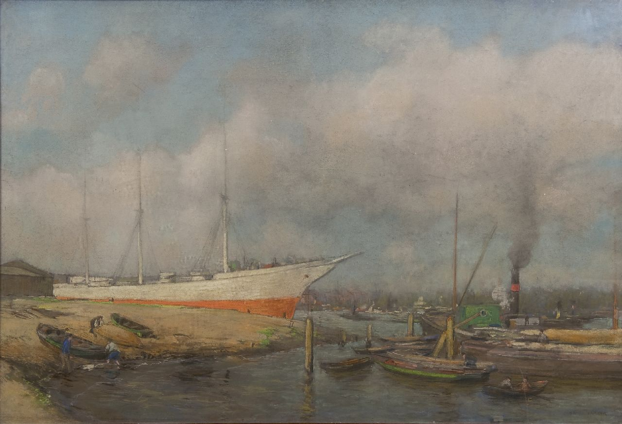Heijenbrock J.C.H.  | Johan Coenraad Hermann 'Herman' Heijenbrock | Watercolours and drawings offered for sale | A shipyard, pastel on paper 62.4 x 92.4 cm, signed l.r.