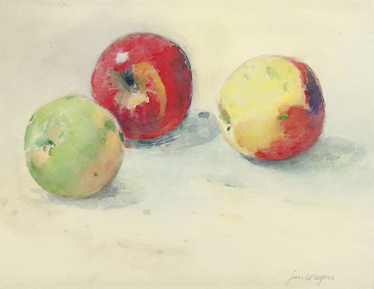 Wiegers J.  | Jan Wiegers | Watercolours and other works on paper offered for sale | A still life with apples, watercolour on paper 21.8 x 27.5 cm, signed l.r.