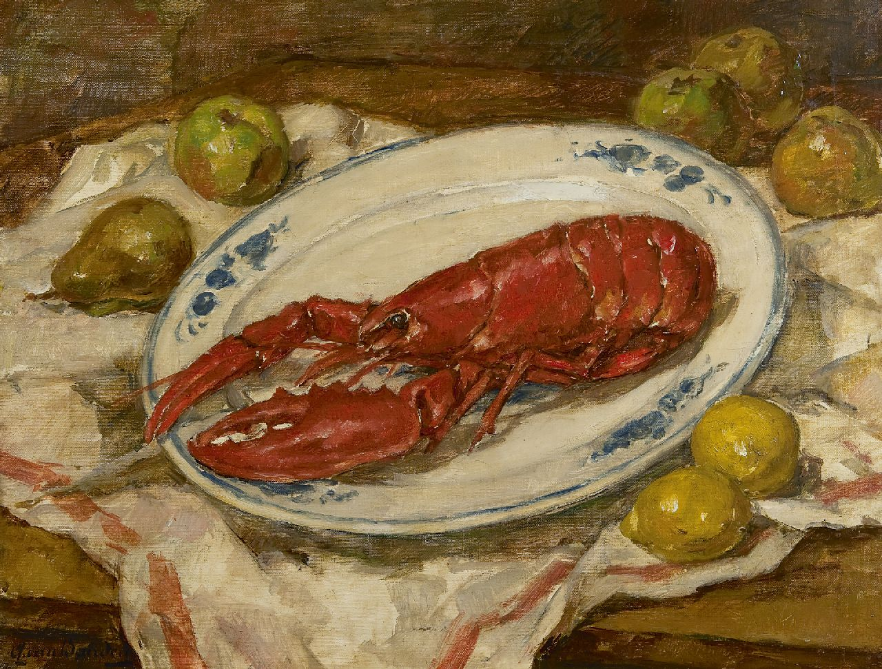 Alphonse van Beurden jr. | Still life with lobster, pears and lemons, oil on canvas, 52.0 x 67.2 cm, signed l.l.