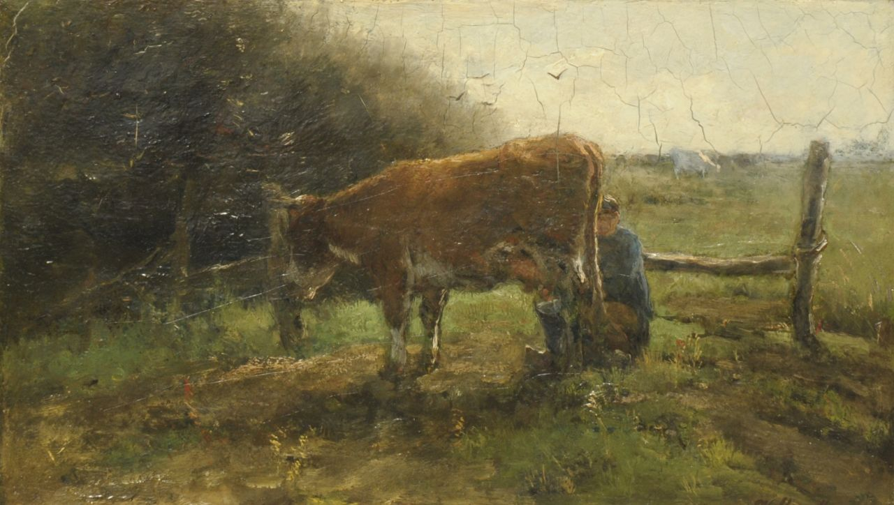 Maris W.  | Willem Maris, Milking the cow, oil on canvas 25.3 x 43.4 cm, signed l.r.