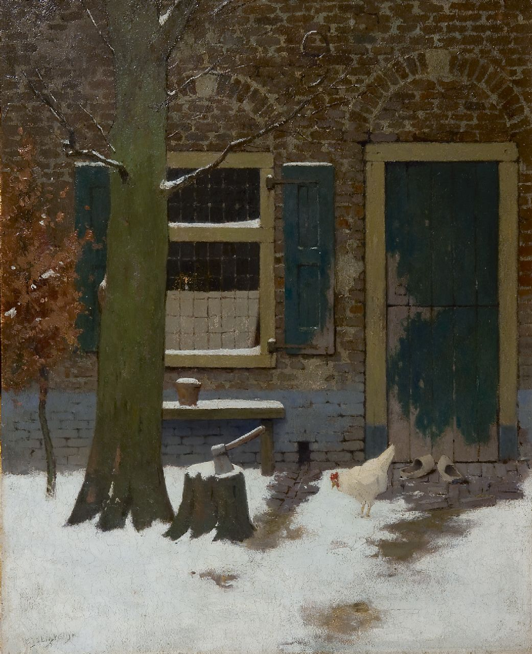Ligtelijn E.J.  | Evert Jan Ligtelijn, A snowy farmyard with a chicken, oil on board 50.0 x 40.0 cm, signed l.l.