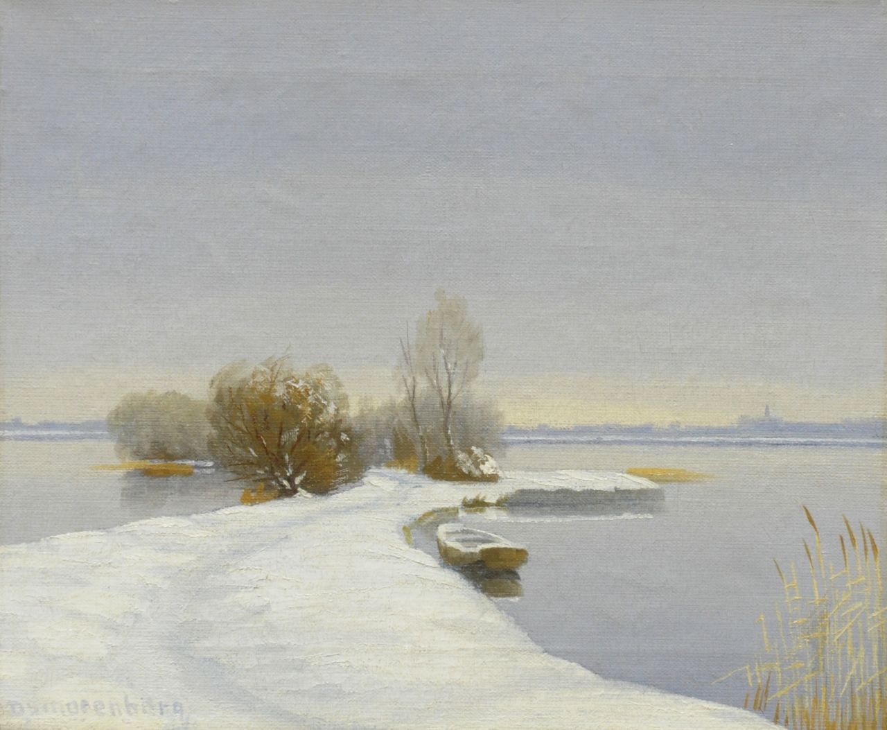 Smorenberg D.  | Dirk Smorenberg, A winter landscape near Loosdrecht, oil on canvas 25.2 x 30.0 cm, signed l.l.