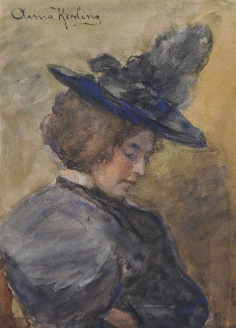 Anna Elisabeth Kerling | Lady with hat, watercolour on paper, 16.1 x 11.6 cm, signed u.l.