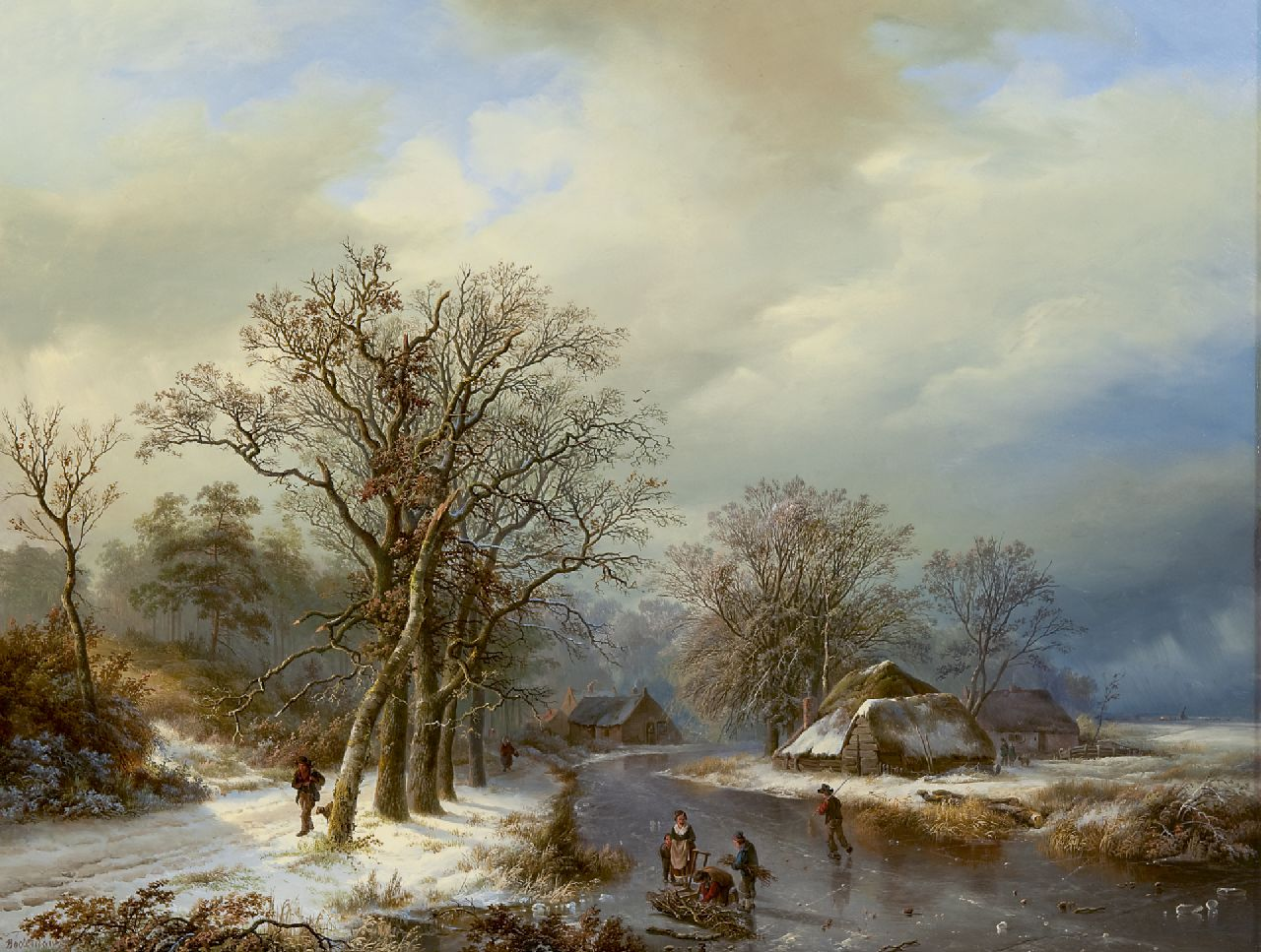 Bodeman W.  | Willem Bodeman, A winter landscape with skaters and farmers gathering wood, oil on panel 58.0 x 75.4 cm, signed l.l.