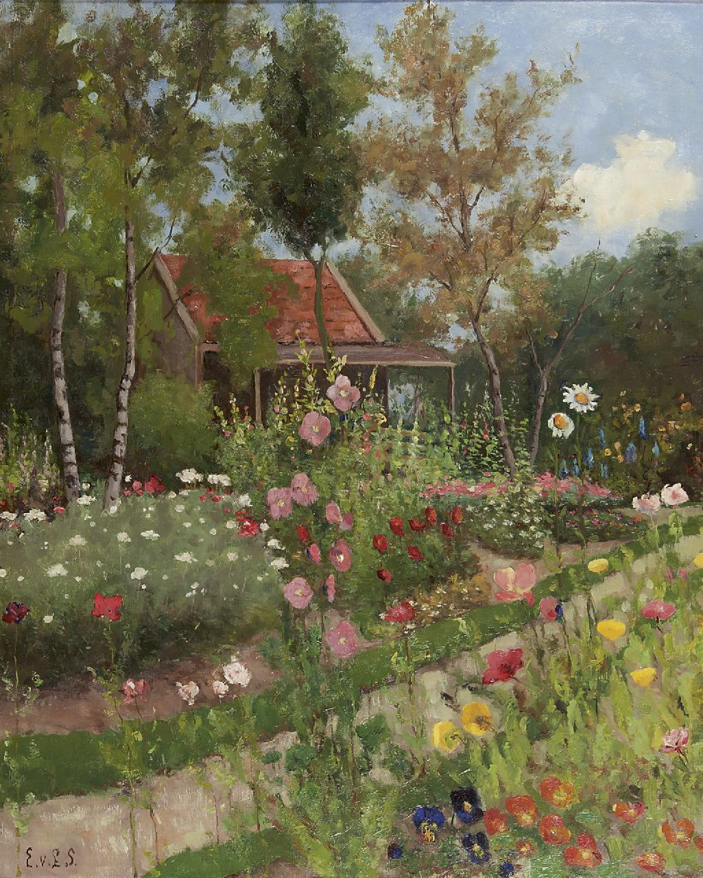 Eldina Aldegonda Rinsina van Limburg Stirum | A flower garden with a house, oil on canvas, 80.5 x 65.7 cm, signed l.l. with initials