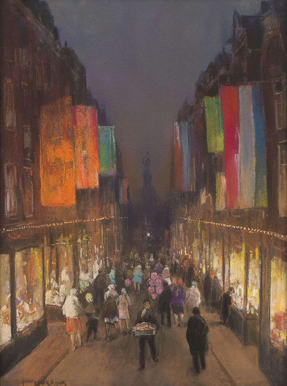 Heijenbrock J.C.H.  | Johan Coenraad Hermann 'Herman' Heijenbrock | Watercolours and drawings offered for sale | The Kalverstraat with flags, by night, pastel on paper 61.0 x 39.3 cm, signed l.l.