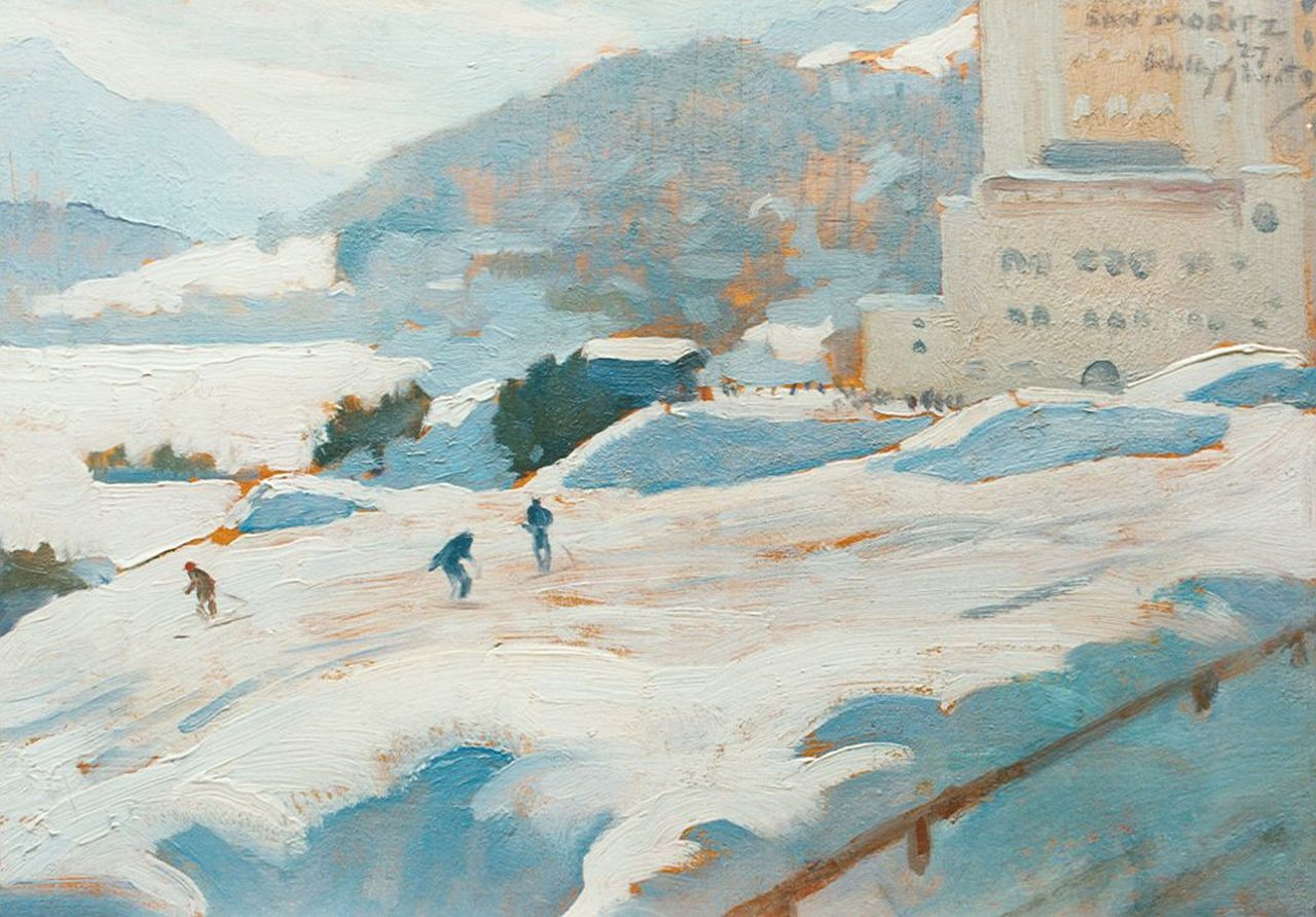 Sluiter J.W.  | Jan Willem 'Willy' Sluiter, Downhill, St. Moritz, 24.5 x 35.1 cm, signed u.r. and dated '27