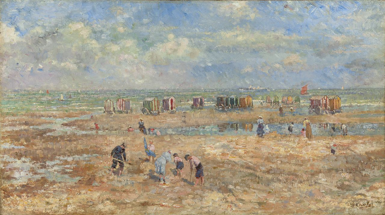 Emile Charlet | A summer day at the beach, oil on canvas, 41.4 x 73.4 cm, signed l.r.