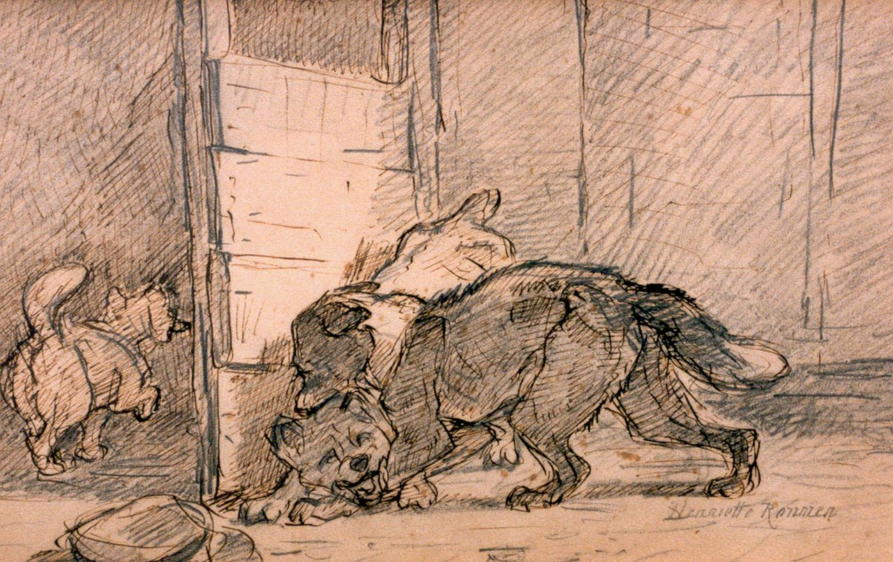 Ronner-Knip H.  | Henriette Ronner-Knip, The fight, pen and pencil on paper 20.0 x 31.0 cm, signed l.r.