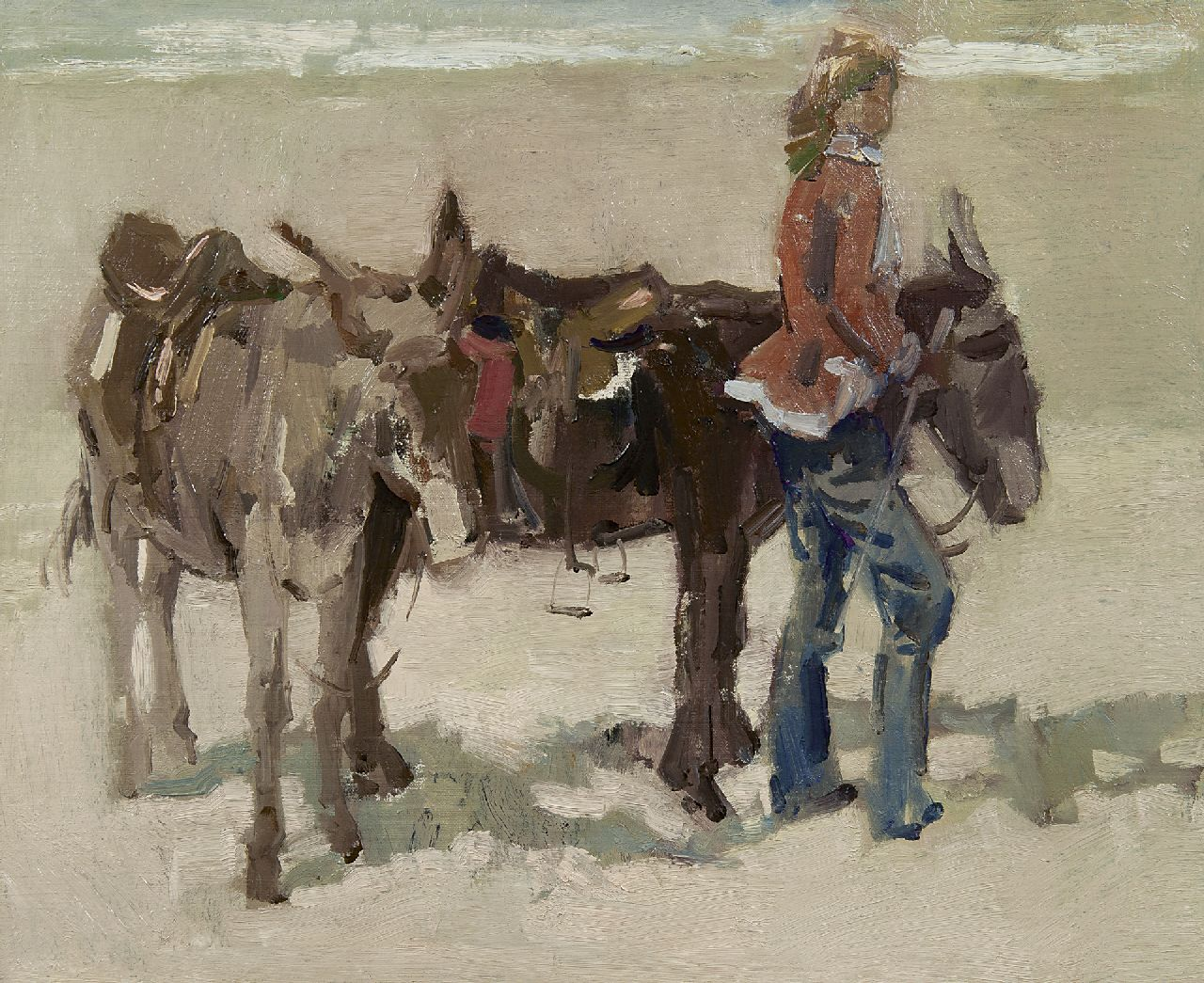 Boer H. de | Hessel de Boer, A girl with donkeys on a beach, oil on canvas 46.0 x 55.8 cm