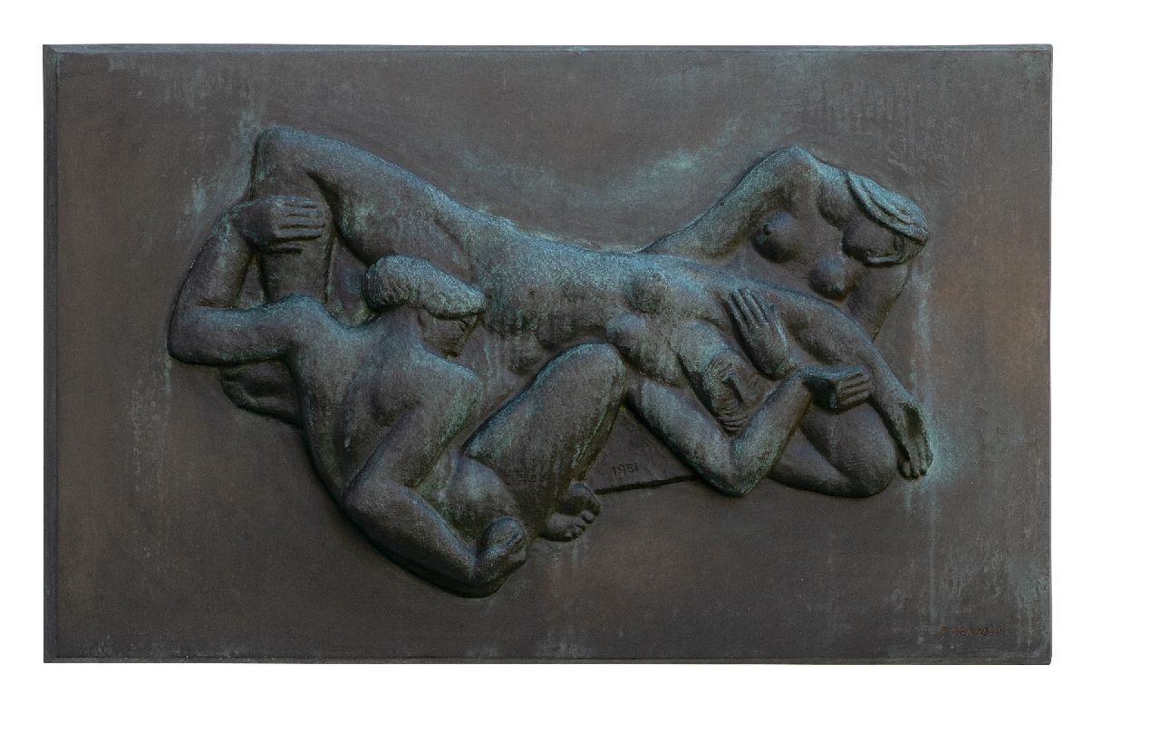 Fred Carasso | Relief with three reclining women, bronze, and green patine, 44.3 x 74.8 cm, signed l.r. and dated 1951