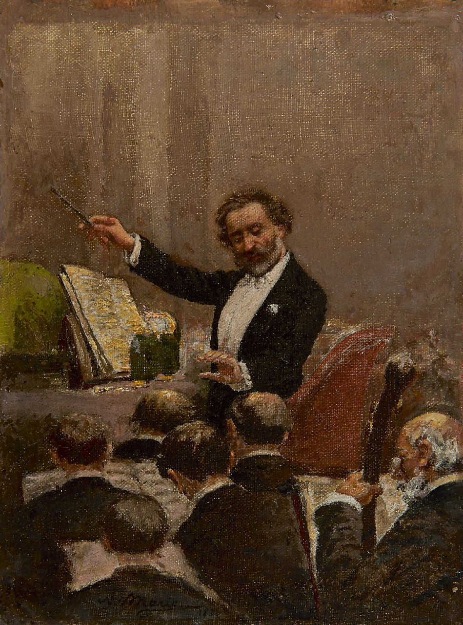 Adrien Emmanuel Marie | Giuseppe Verdi conducts the opera orchestra at the first performance of Aïda in Paris, 1880, oil on canvas, 29.8 x 22.5 cm, signed c.l. and 1880