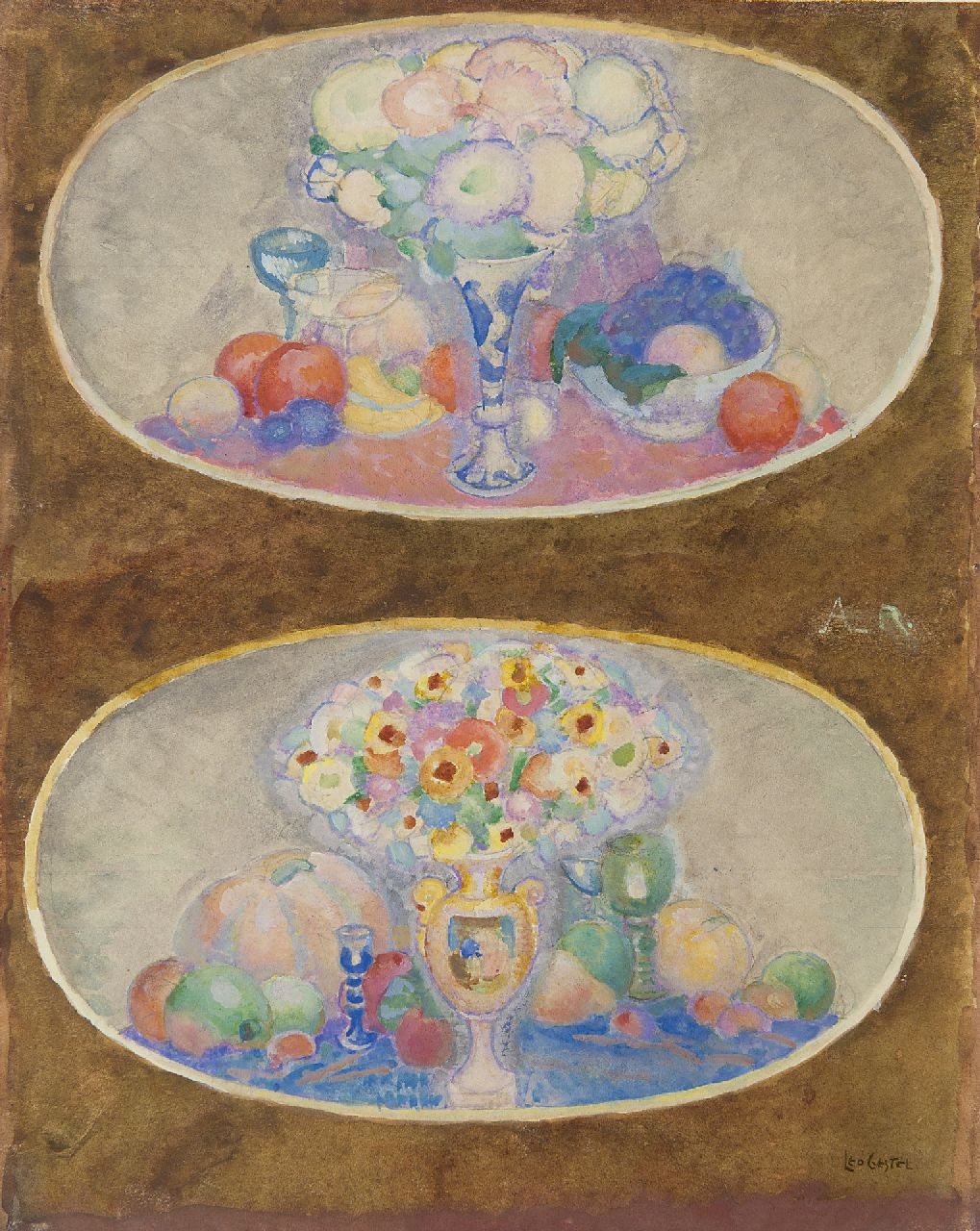 Gestel L.  | Leendert 'Leo' Gestel | Watercolours and drawings offered for sale | Flower medallions, watercolour on paper 28.8 x 22.9 cm, signed l.r.
