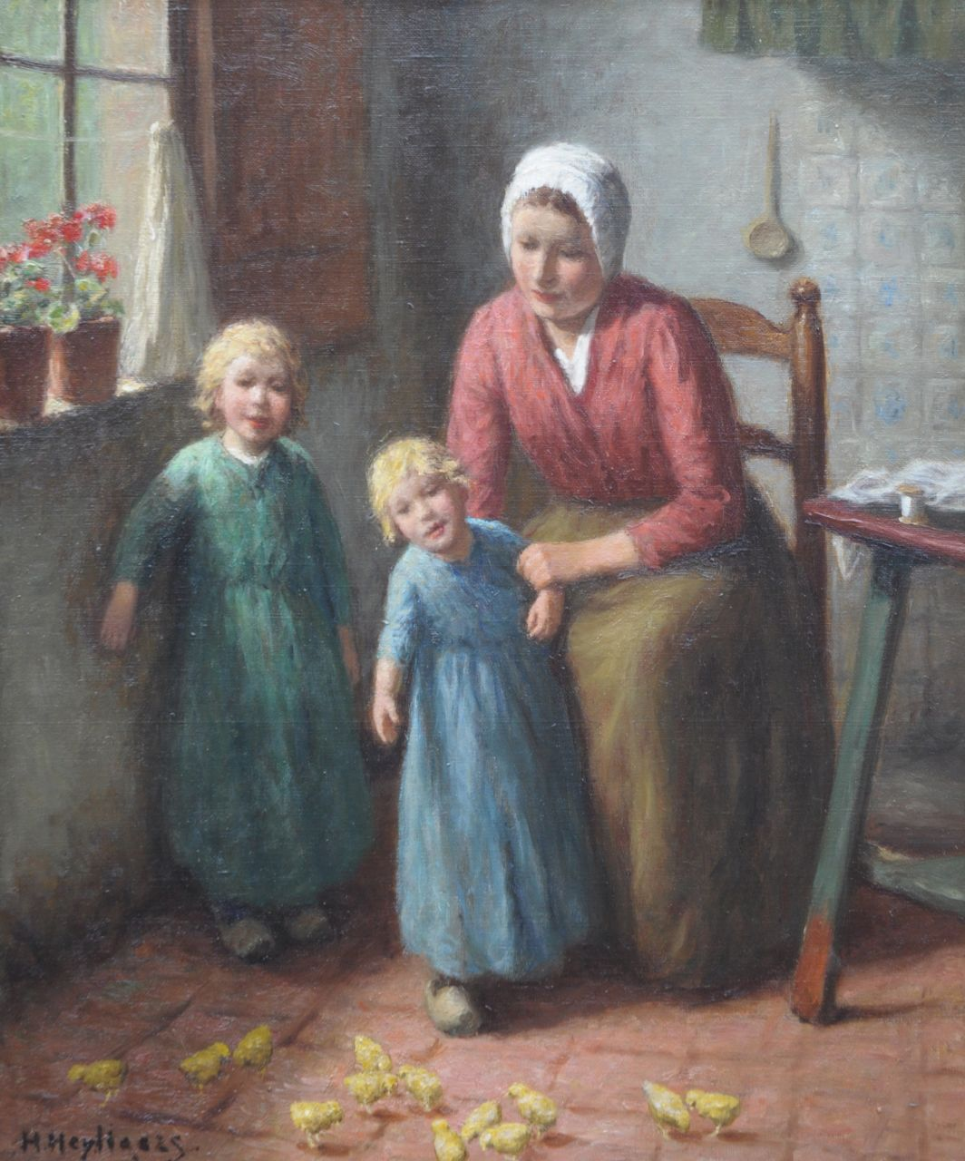 Heijligers H.  | Hendrik 'Henri' Heijligers, The little chickens, oil on canvas 54.0 x 45.0 cm, signed l.l. and painted ca. 1916