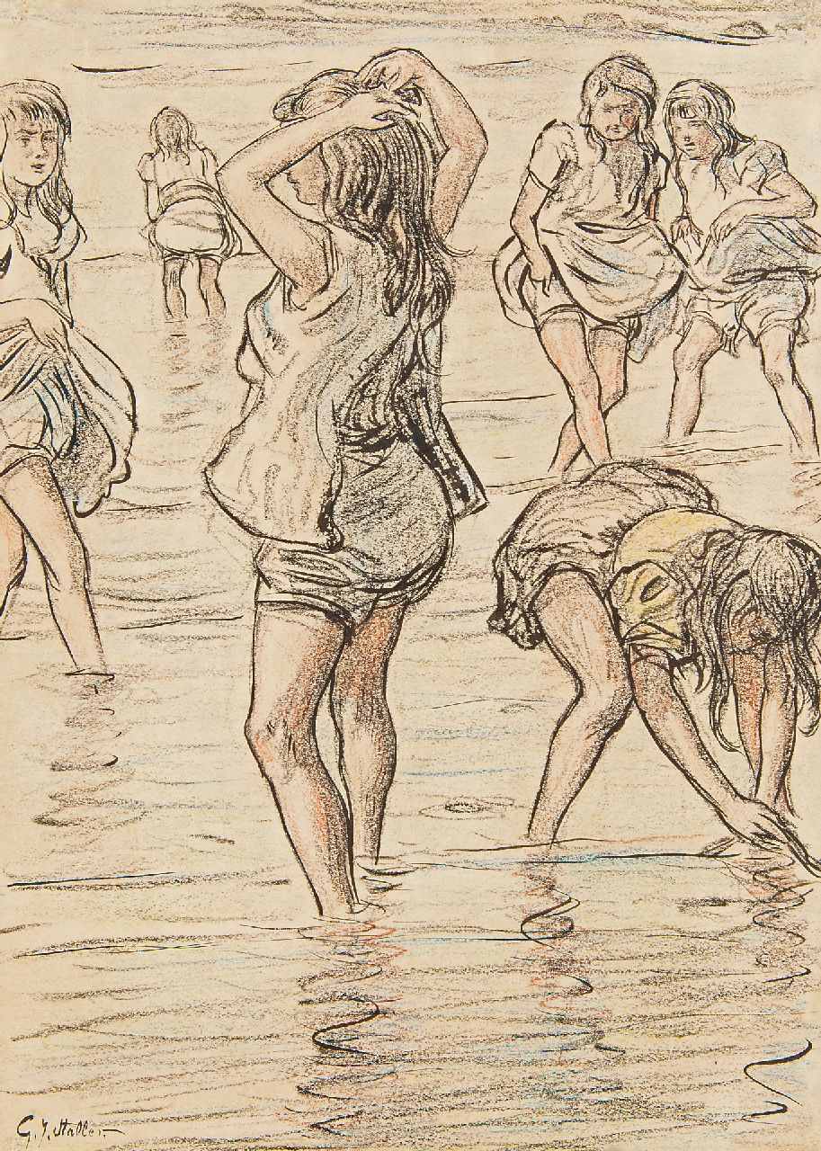 Staller G.J.  | Gerard Johan Staller | Watercolours and drawings offered for sale | Girls paddling in the sea, chalk and Indian ink on paper 33.8 x 24.0 cm, signed l.l.