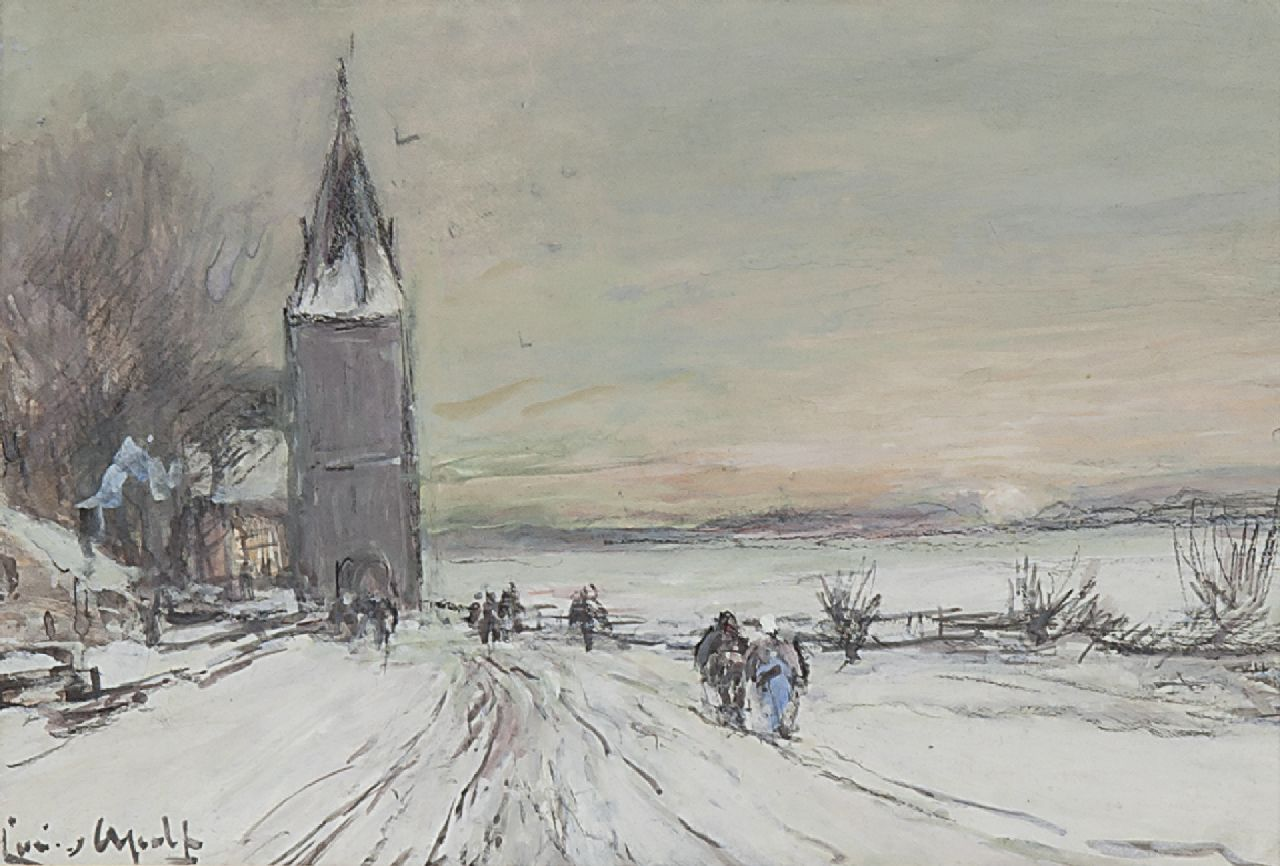 Apol L.F.H.  | Lodewijk Franciscus Hendrik 'Louis' Apol, Going to church in winter, chalk and gouache on paper 11.9 x 16.8 cm, signed l.l.