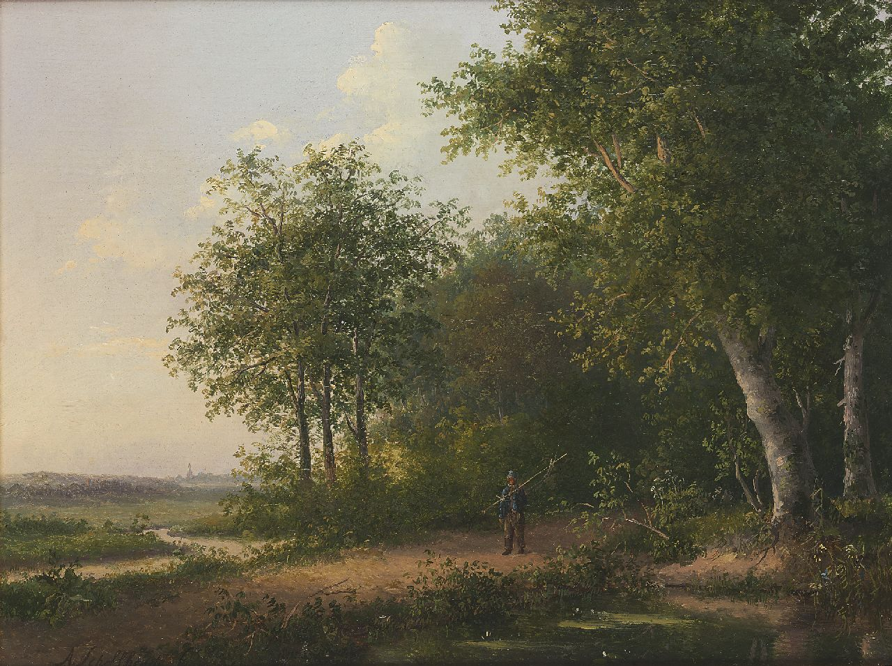 Schelfhout A.  | Andreas Schelfhout | Paintings offered for sale | Fisherman in a forest, oil on panel 26.0 x 34.5 cm, signed l.l. and painted ca. 1822