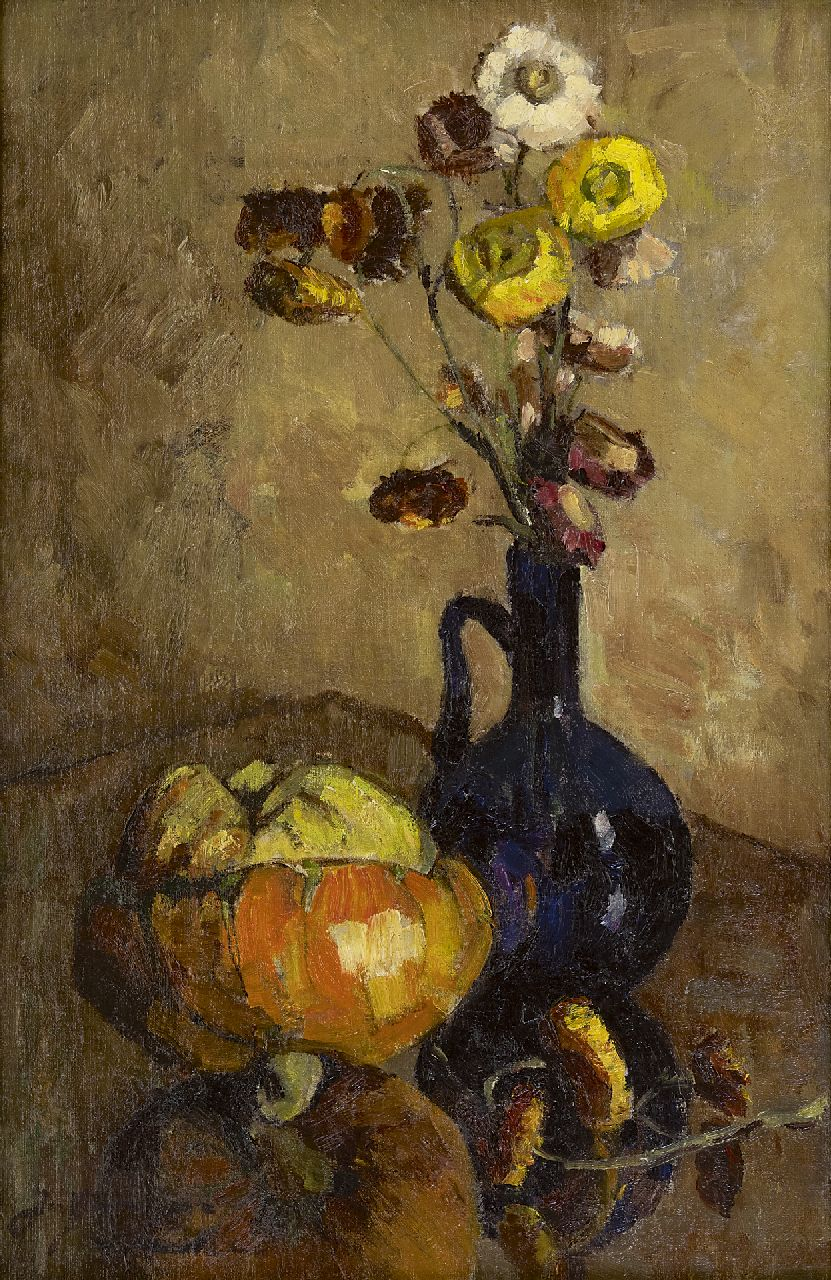 Jacoba van Groningen-Laurillard | Still life with dried flowers and a pumpkin, oil on canvas, 60.0 x 40.0 cm, signed l.l.