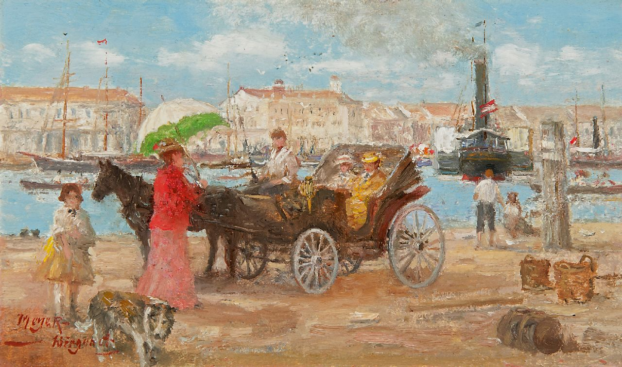 Meyer-Wiegand R.D.  | Rolf Dieter Meyer-Wiegand | Paintings offered for sale | Carriage in a harbour, oil on board laid down on panel 12.0 x 20.1 cm, signed l.l.