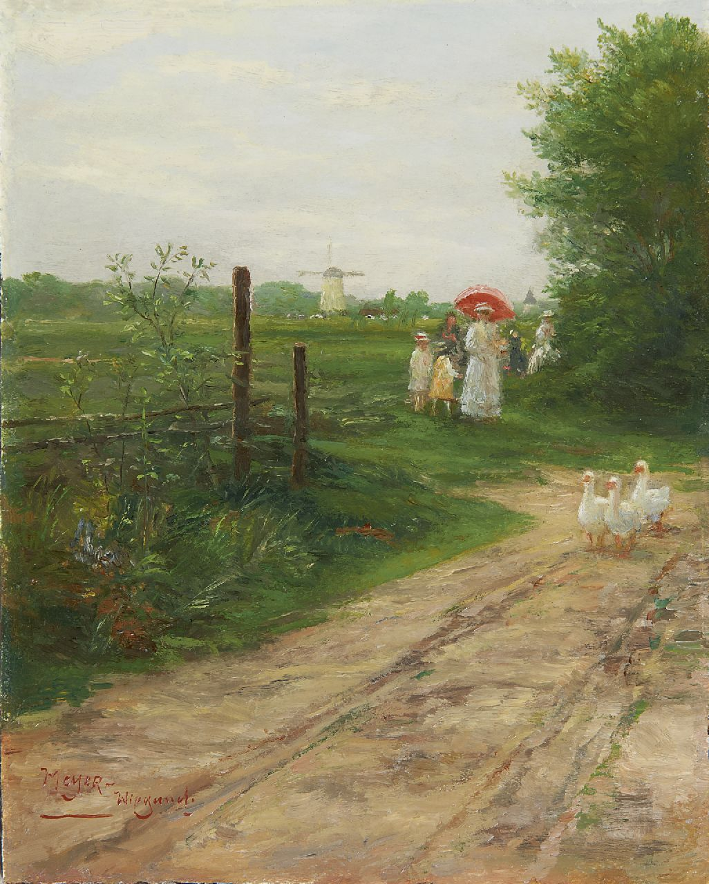 Meyer-Wiegand R.D.  | Rolf Dieter Meyer-Wiegand, The Sunday stroll, oil on panel 19.9 x 15.9 cm, signed l.l.