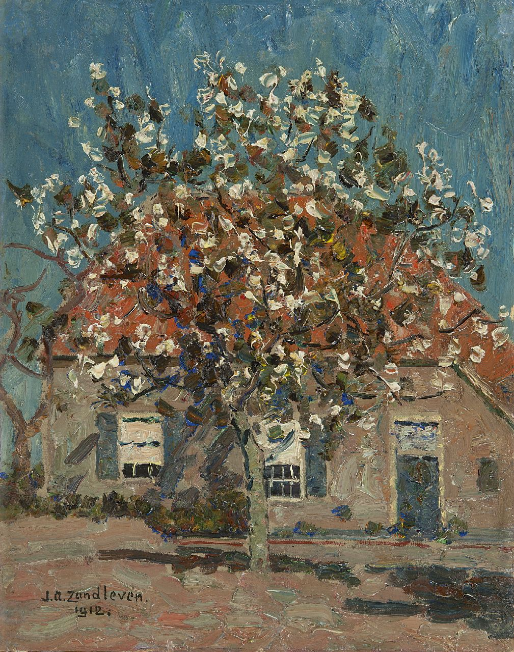 Zandleven J.A.  | Jan Adam Zandleven | Paintings offered for sale | Flowering fruit tree in front of a farm, oil on canvas laid down on panel 40.2 x 32.1 cm, signed l.l. and dated 1912