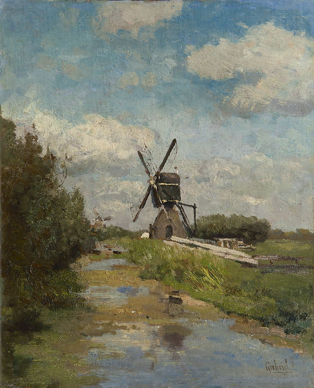 Gabriel P.J.C.  | Paul Joseph Constantin 'Constan(t)' Gabriel, Windmill in the Westbroekpolder near Zoeterwoude, oil on canvas laid down on panel 32.5 x 26.1 cm, signed l.r.
