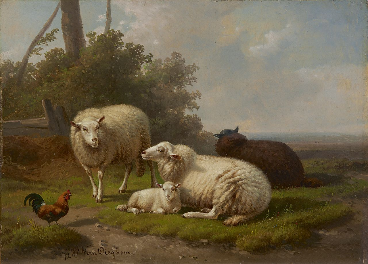 Joseph van Dieghem | An idyllic landscape with sheep, oil on panel, 22.6 x 31.0 cm, signed l.l. and dated '72