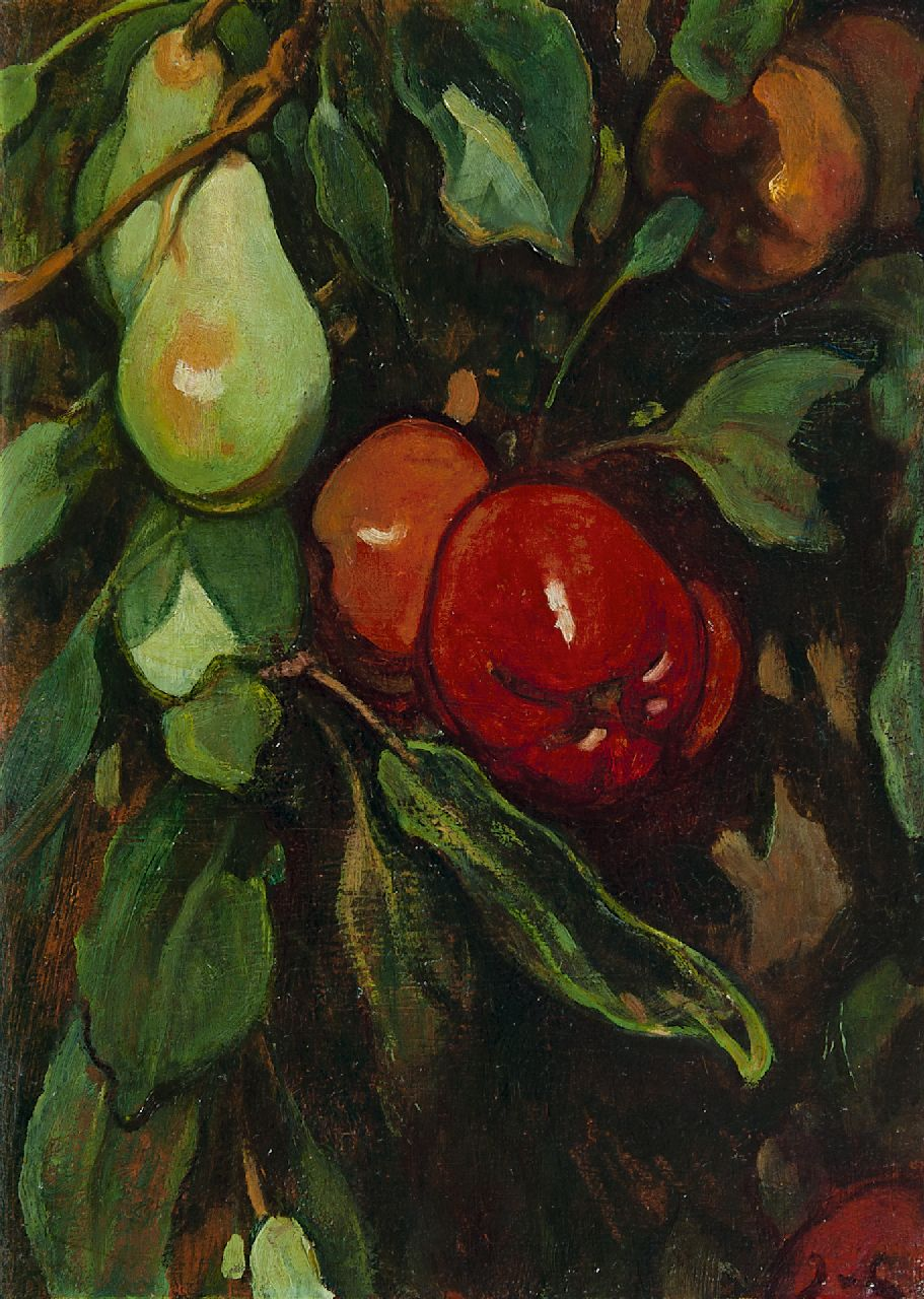 Looy J. van | Jacobus van Looy | Paintings offered for sale | Red apples and pears, oil on panel 37.0 x 26.7 cm, signed l.r. with initials