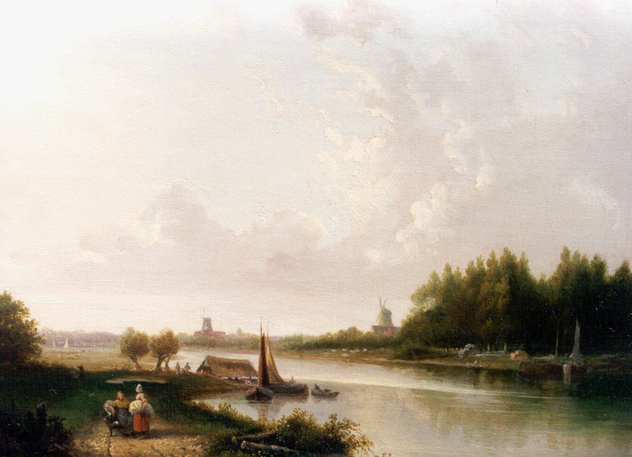 Arnoldus Antonius Christianus van 't Zant | A panoramic river landscape, oil on canvas, 29.2 x 32.8 cm, signed l.c. and dated 1846