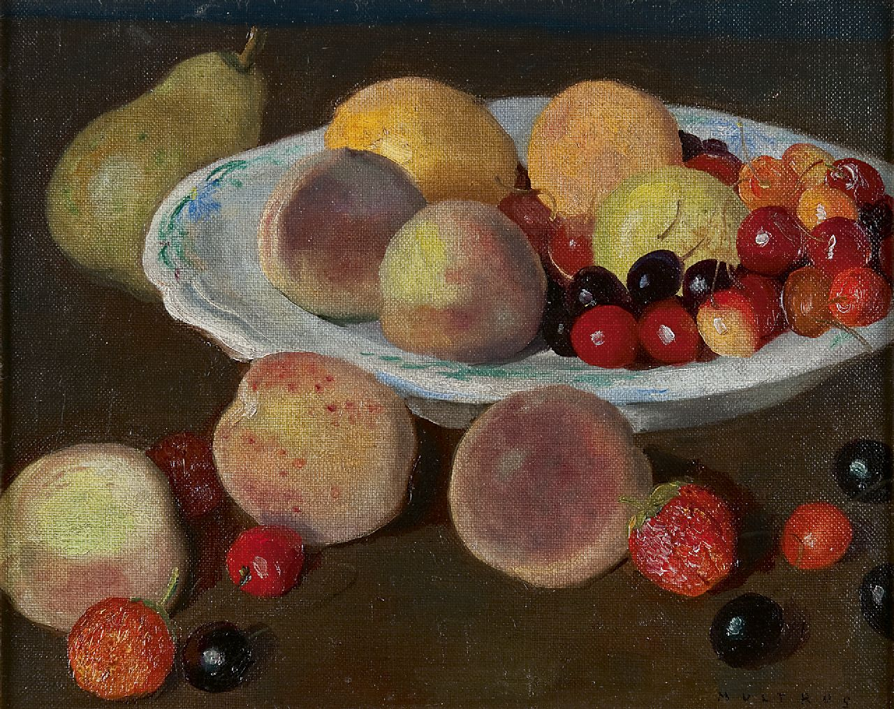 Josef Multrus | A fruit still life with peaches and cherries, oil on canvas, 25.7 x 31.5 cm, signed l.r.