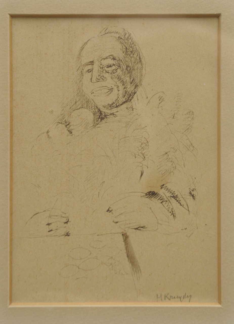 Kruyder H.J.  | 'Herman' Justus Kruyder, A portrait of the collectioneur P.A. Regnault, pen and ink on paper 11.0 x 14.5 cm, signed l.r. and executed ca. 1932