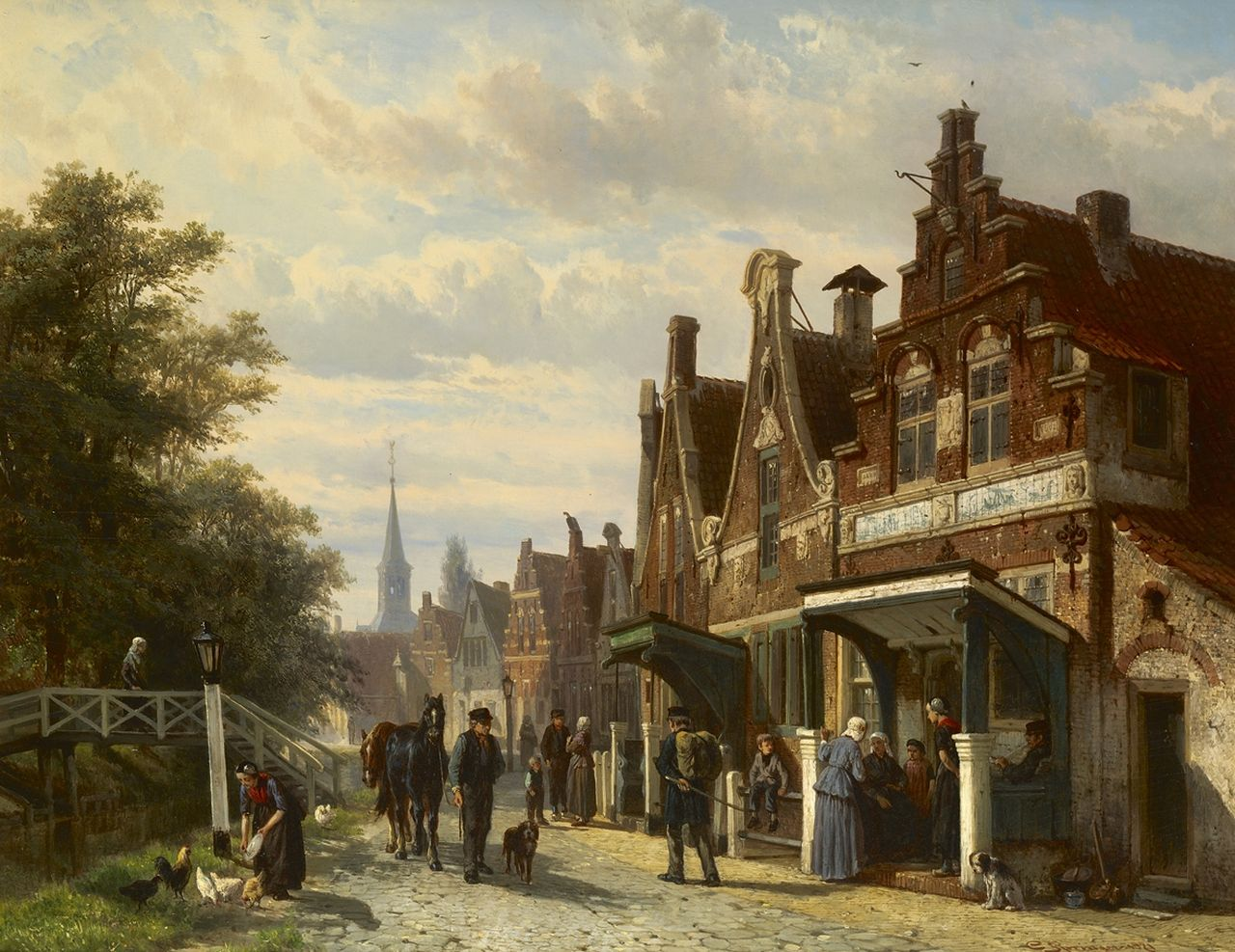 Springer C.  | Cornelis Springer | Paintings offered for sale | A town view in Makkum, Friesland, oil on panel 44.8 x 57.3 cm, signed l.r. and dated 1871
