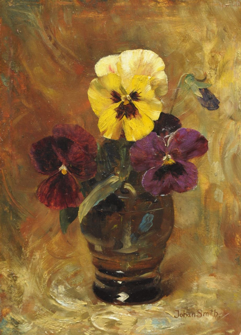 Johan Smith | Pansies in a glass, oil on panel, 24.2 x 16.9 cm, signed l.r.