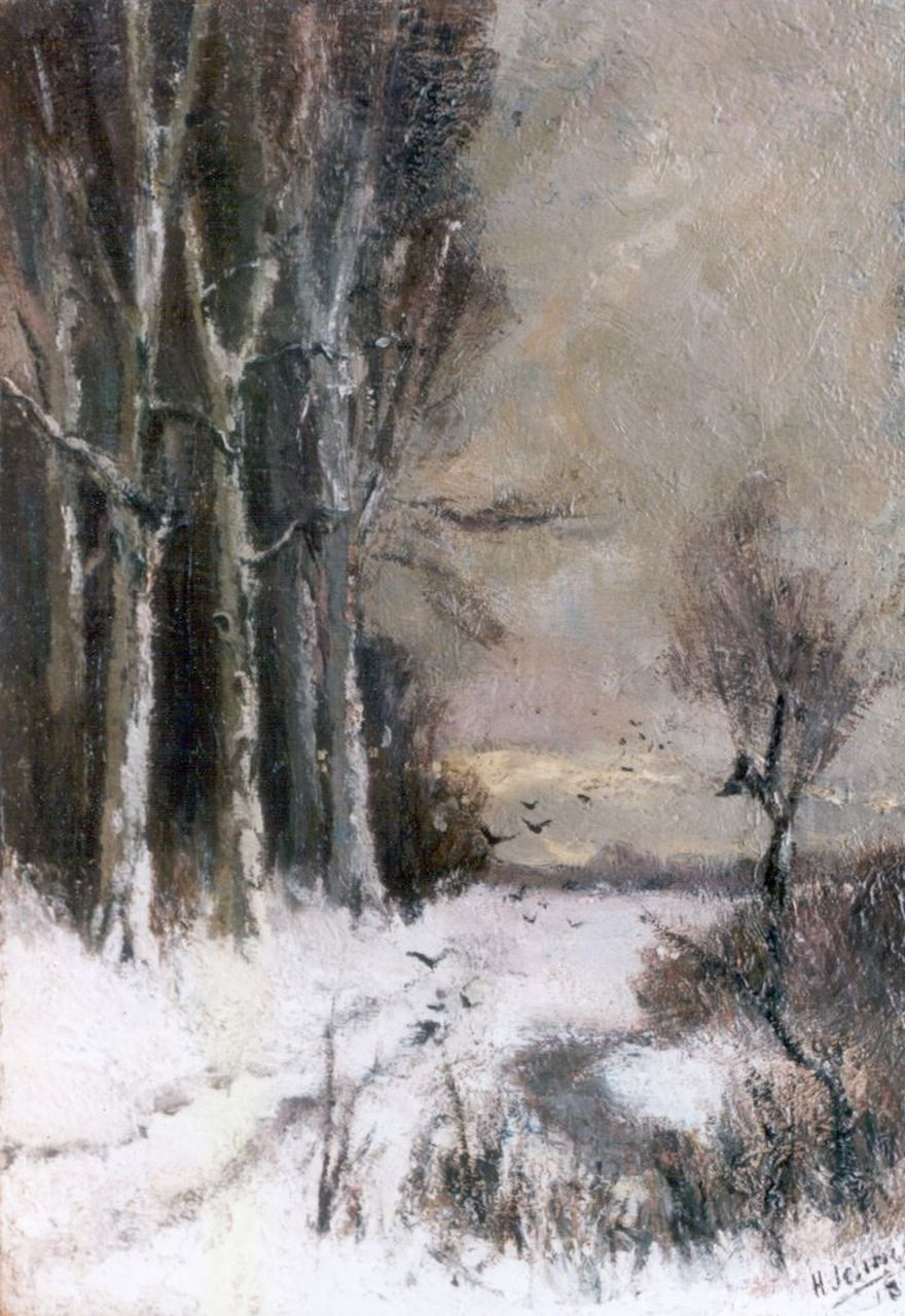 Han Jelinger | A winter landscape, oil on canvas, 27.4 x 19.2 cm, signed l.r. and dated 1918