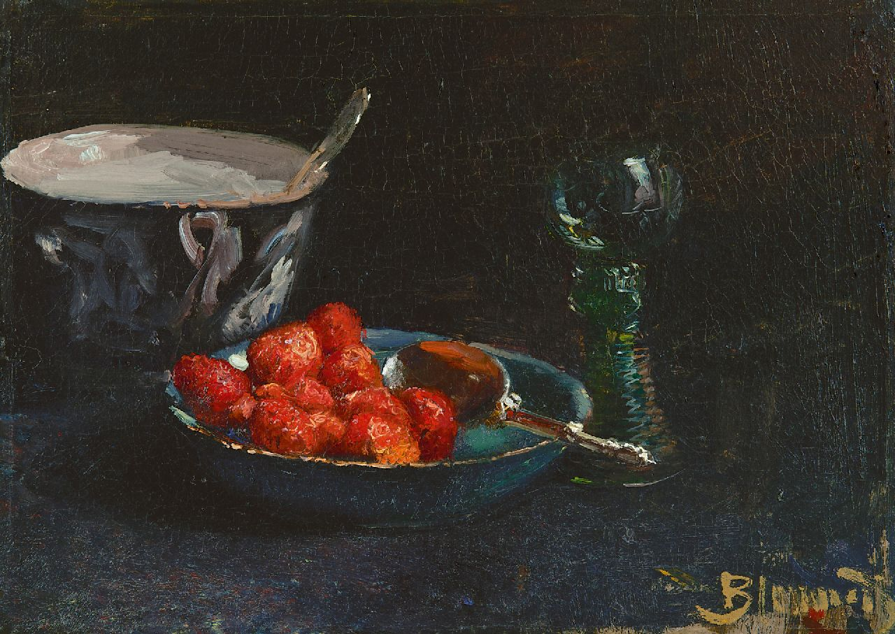 Blommers B.J.  | Bernardus Johannes Blommers | Paintings offered for sale | Strawberries with whipped cream and a Rhine wine glass, oil on canvas 28.8 x 40.0 cm, signed l.r. and painted ca. 1880