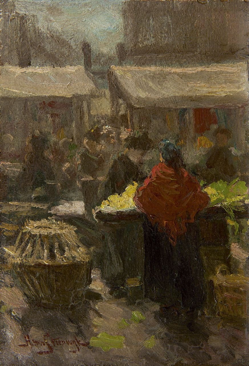 Hendrik van Steenwijk | Figures at a marketplace, oil on panel, 27.8 x 19.4 cm, signed l.l.