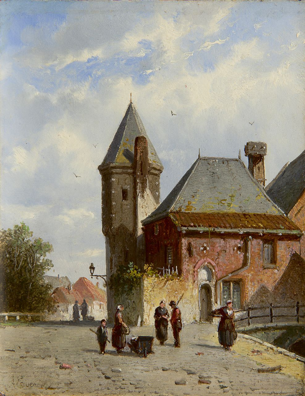 Eversen A.  | Adrianus Eversen, A sunny quai with figures and the Koppelpoort, Amersfoort, oil on panel 19.3 x 15.0 cm, signed l.l. and on a label on the reverse