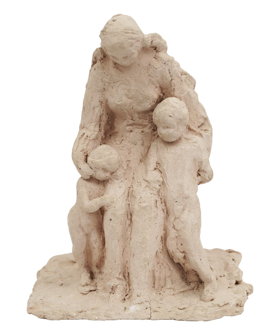 Andriessen (toegeschreven aan) M.S.  | Marie Silvester 'Mari' Andriessen (toegeschreven aan) | Sculptures and objects offered for sale | Mother with two children, unbaked clay 23.0 x 16.5 cm, signed under the base with initials and dated '60