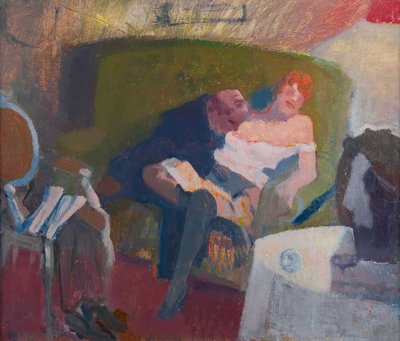 Galema A.  | Arjen Galema | Paintings offered for sale | A couple on a sofa, oil on canvas 53.5 x 63.3 cm