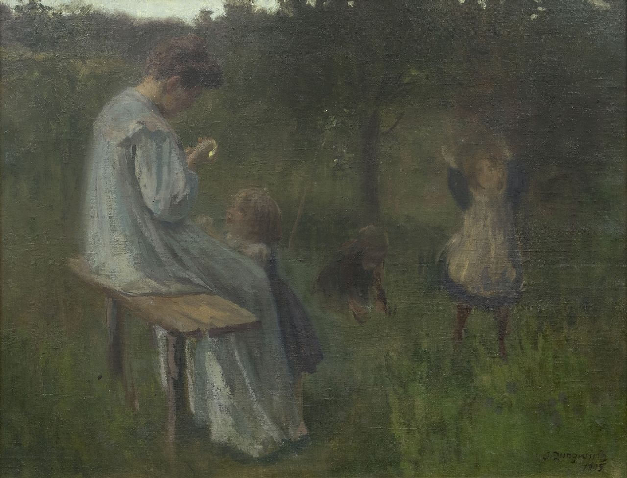 Joseph Jungwirth | A mother with playing children, oil on canvas, 62.8 x 79.4 cm, signed l.r. and dated 1905