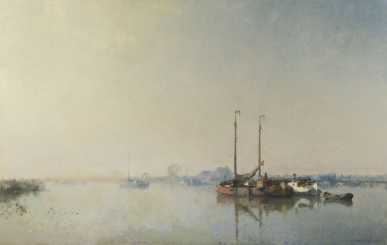 Vreedenburgh C.  | Cornelis Vreedenburgh, Moored vessels on a river, oil on canvas 81.8 x 129.3 cm, signed l.r. and dated 1915