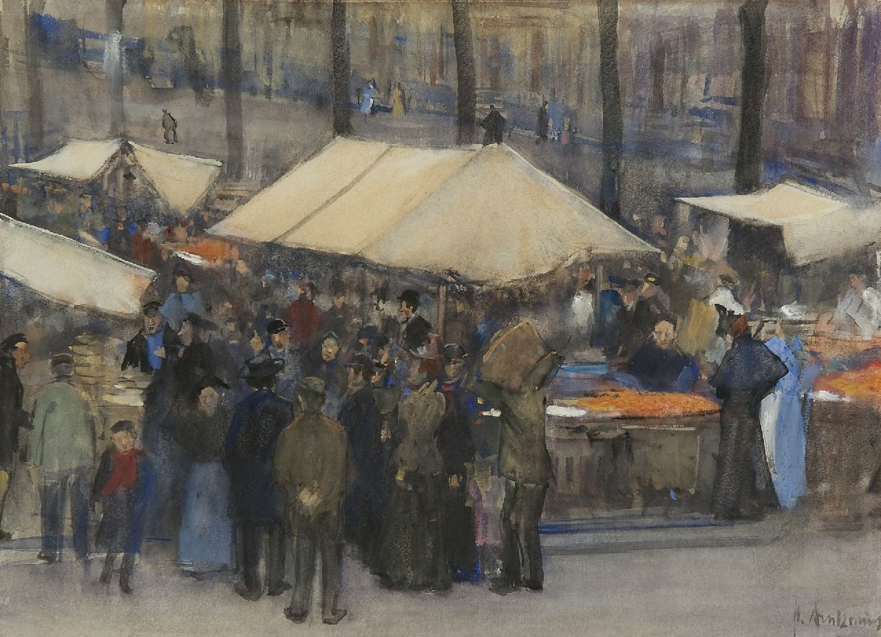 Arntzenius P.F.N.J.  | Pieter Florentius Nicolaas Jacobus 'Floris' Arntzenius | Watercolours and other works on paper offered for sale | Market scene, Prinsegracht,  The Hague, watercolour on paper 32.2 x 43.1 cm, signed l.r.