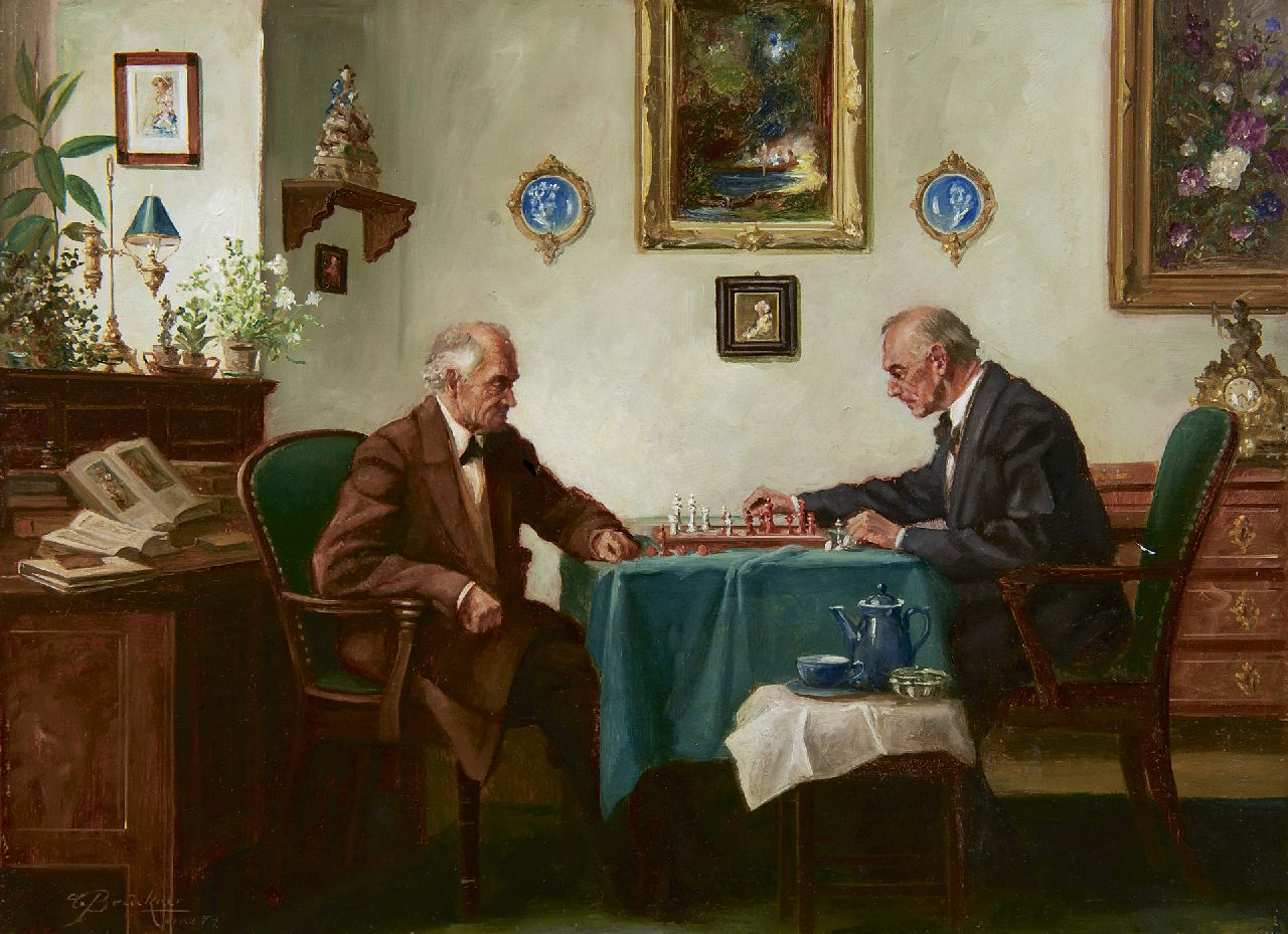 Curt Brückner | Playing chess, oil on painter's board, 30.0 x 40.0 cm, signed l.l. and dated '54