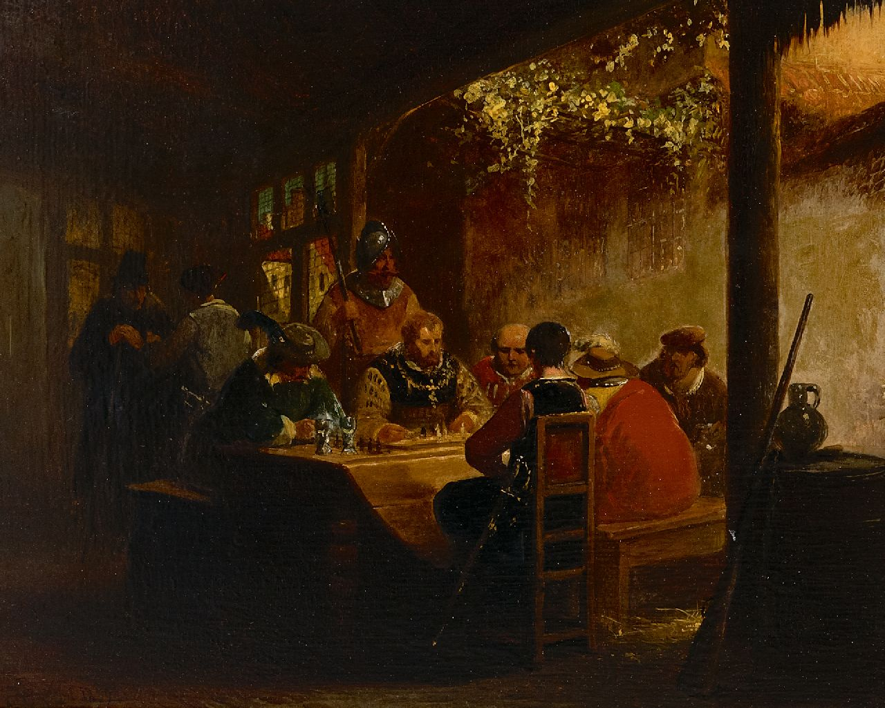 Henri Leys | The chess game (Charles V), oil on panel, 27.7 x 34.1 cm, signed l.l. with monogram and dated 1839
