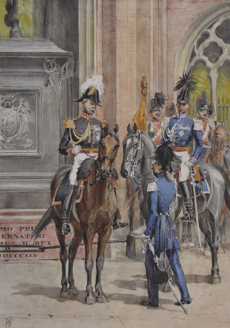 Willem Constantijn Staring | Aide-de-camp of King Willem III near the Noordeinde palace, The Hague, watercolour on paper, 33.0 x 23.0 cm, signed l.l. with monogram