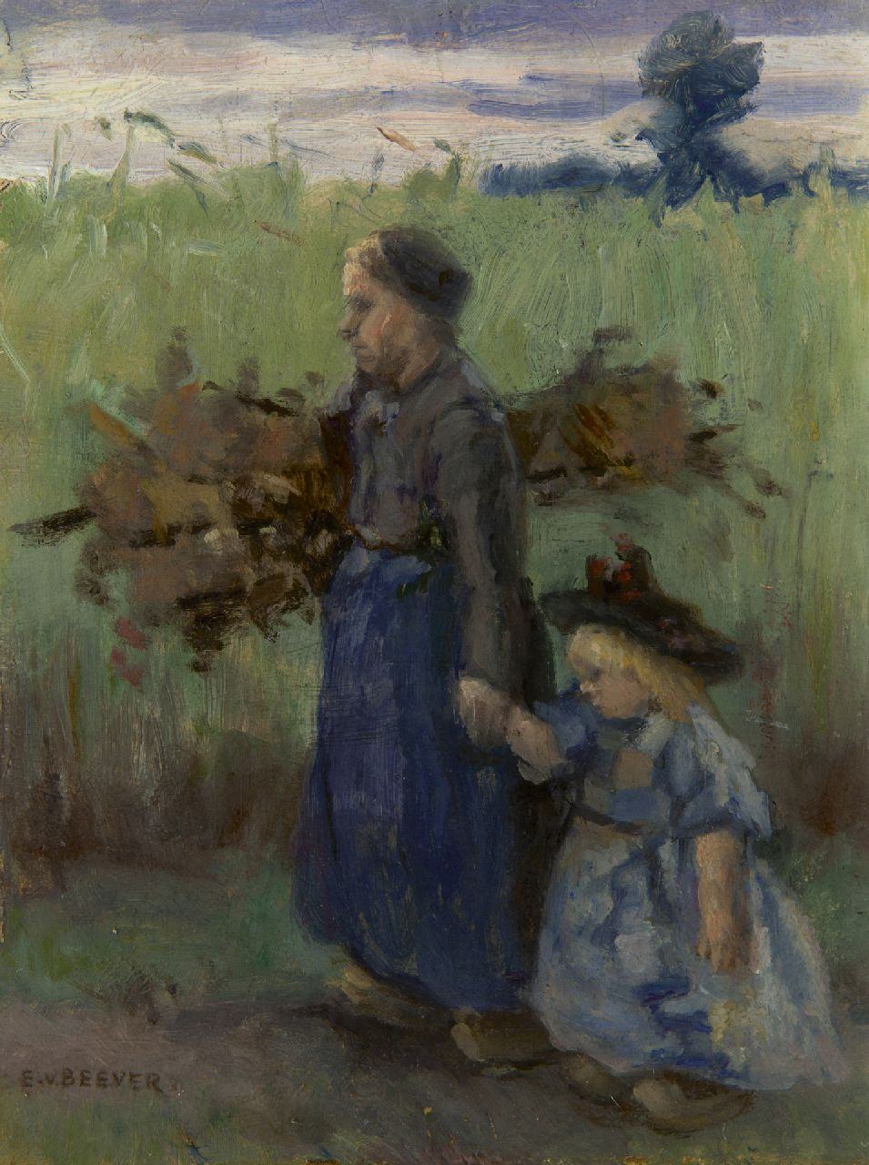 Beever E.S. van | 'Emanuël' Samson van Beever, Going home through the fields, oil on panel 17.9 x 13.7 cm, signed l.l.
