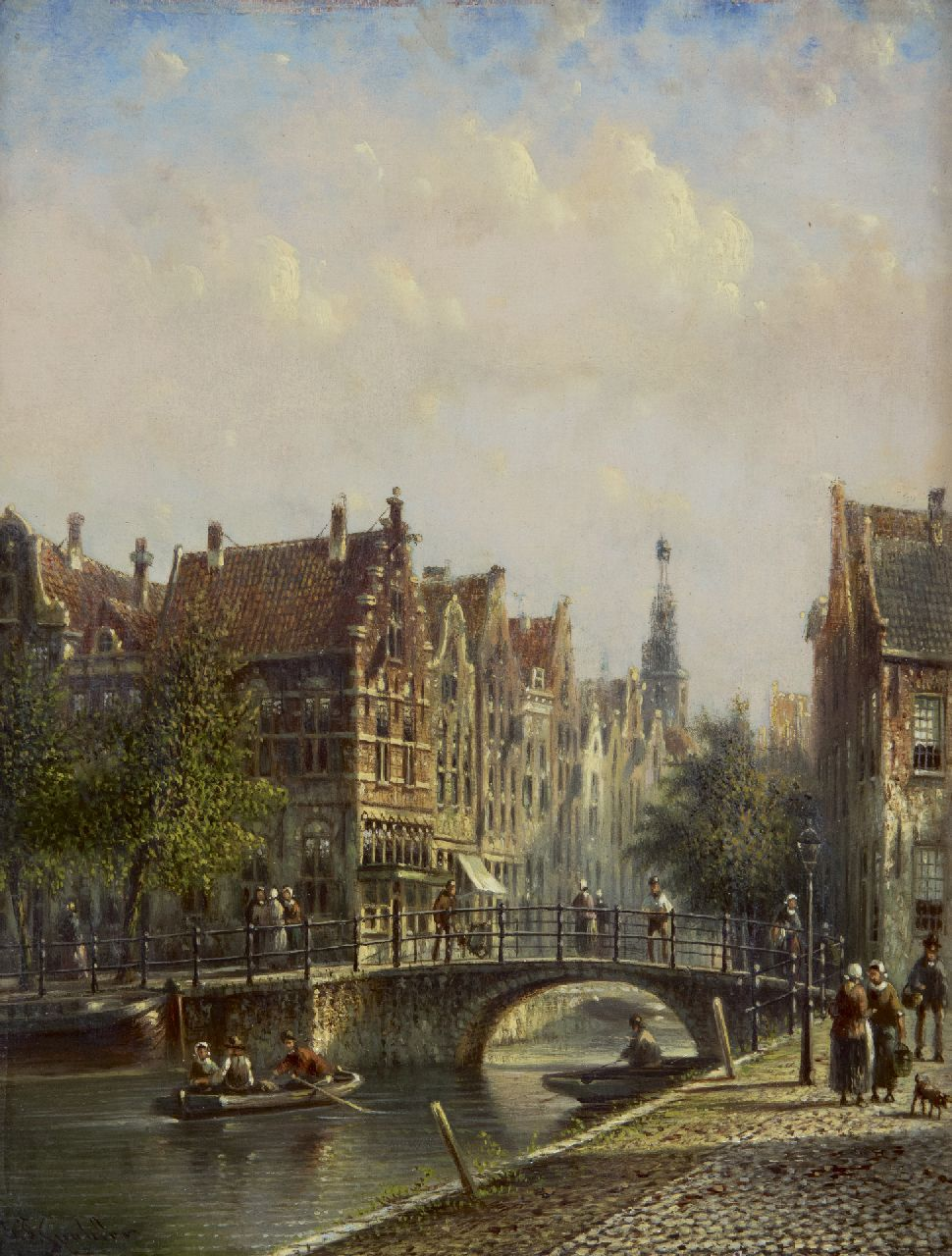 Spohler J.F.  | Johannes Franciscus Spohler, A Dutch canal with the Amsterdam Westertoren, oil on panel 20.4 x 16.0 cm, signed l.l.