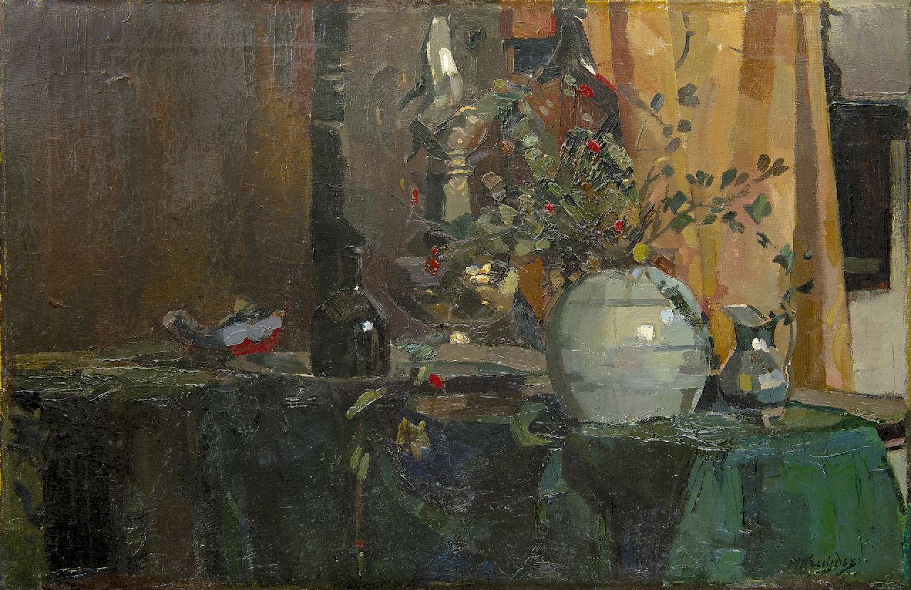 Kruyder H.J.  | 'Herman' Justus Kruyder, A still life with berrie's in a pot, oil on canvas 56.1 x 85.1 cm, signed l.r. and painted before 1916